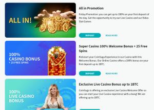 Coinsaga online casino bonus